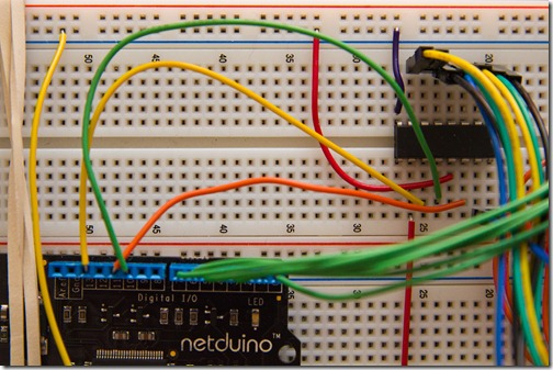 Wiring the Netduino's SPI to the shift register
