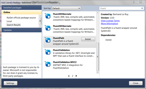 Installing FluentPath with NuGet
