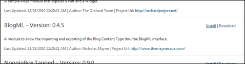 The BlogML module from the Orchard Gallery