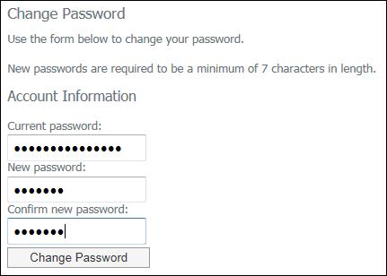 The reset password screen