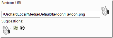 The site settings for favicon