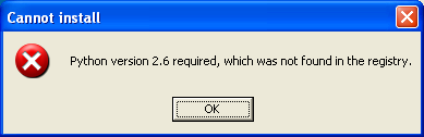 python version 2 7 required which was not found in the registry
