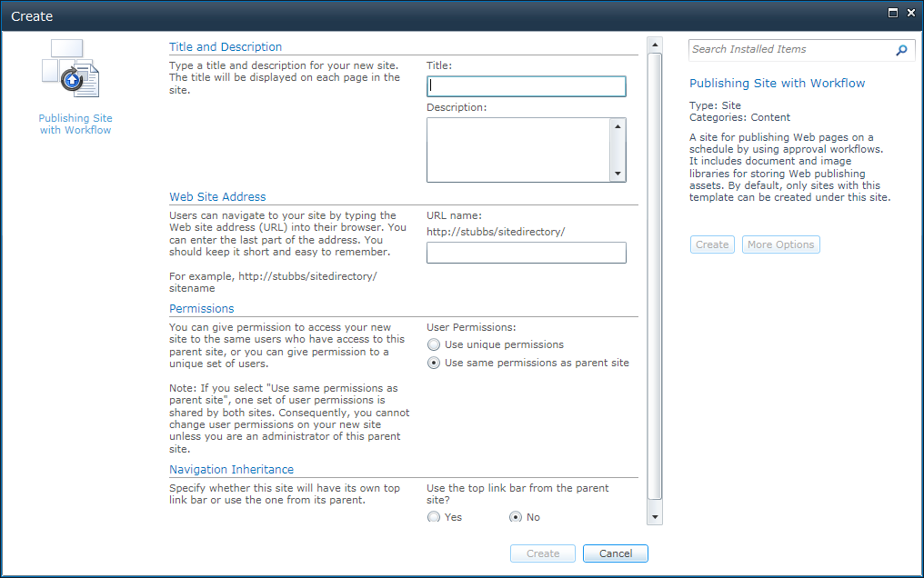 Fear and loathing sharepoint 2010 site templates a detailed the options are the same no matter what template you choose and i couldnt find any way to build something that would you let amend options here pronofoot35fo Images