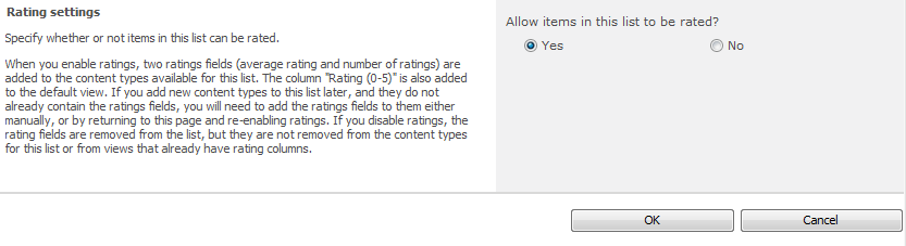 Fear and loathing adding ratings and comments to sharepoint note you must have the sharepoint timer services running and the user profile service configured and started for ratings to work why publicscrutiny Gallery