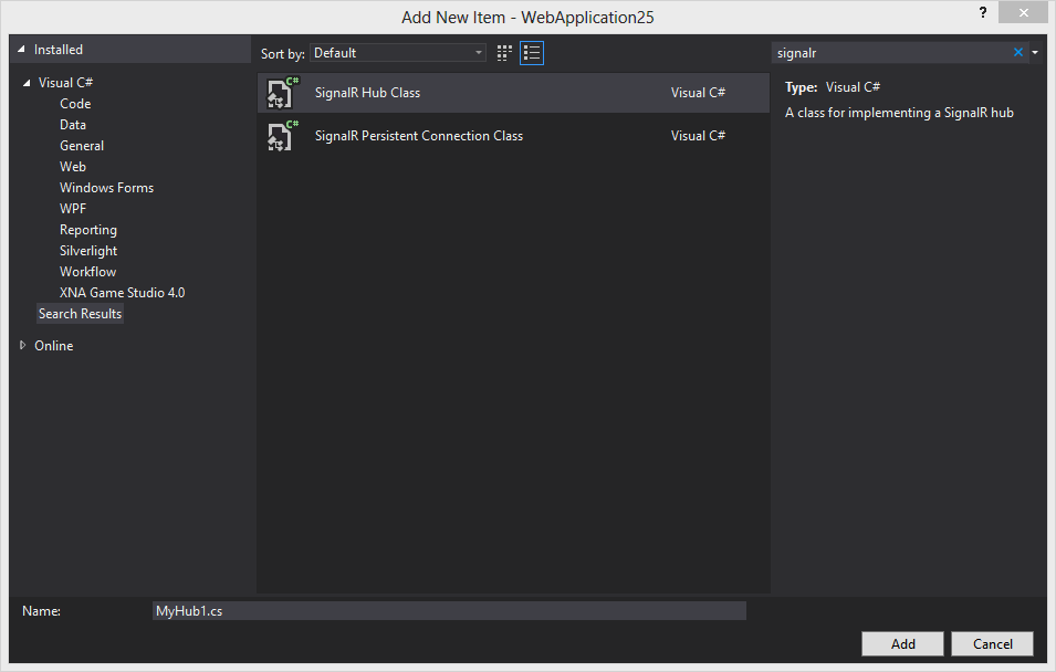 unhandled exception microsoft asp net signalrvisual studio integration