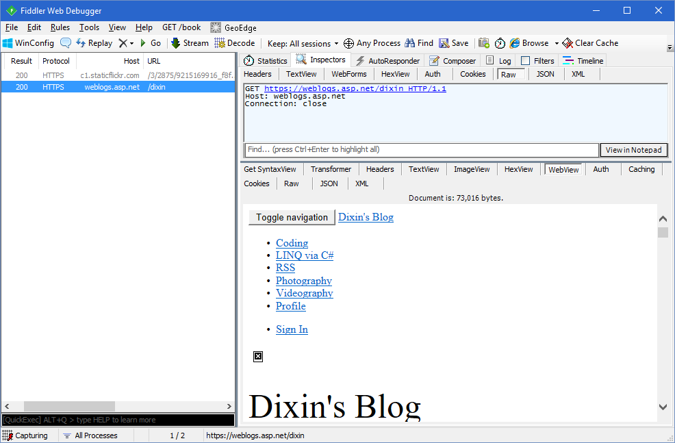 Dixin's Blog - Use Fiddler with Node js