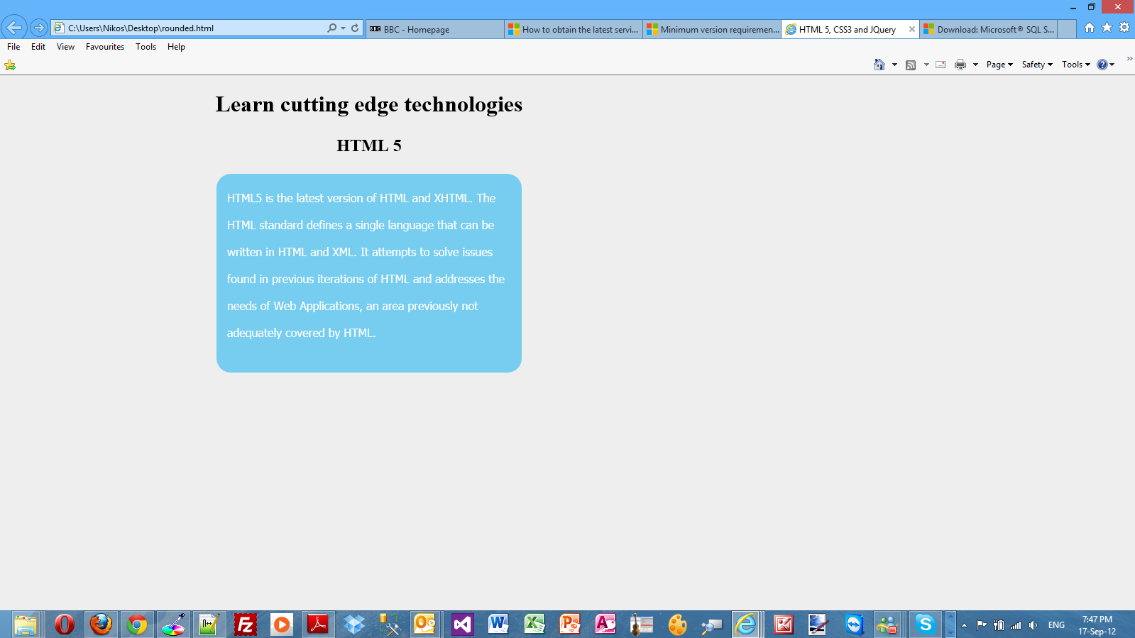 Have A Look Below To See What My Page Looks Like In Ie 10