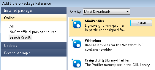 MiniProfiler: Add package reference