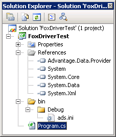 Advantage Data provider test application