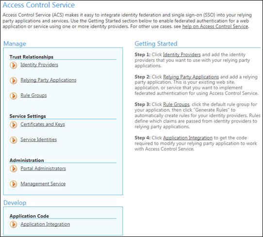 AppFabric Access Control Service: Control panel