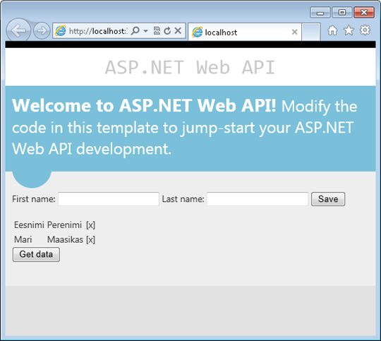 ASP.NET Web API test application