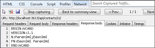 Single vCard response