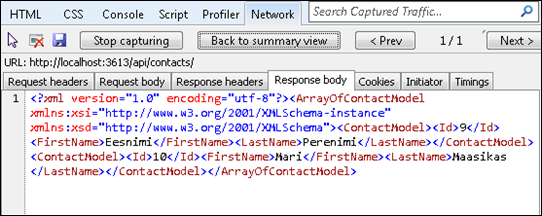 Content negotiation: Response data as XML