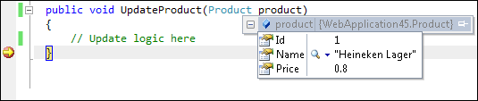 ASP.NET Forms 4.5: Product with modified data