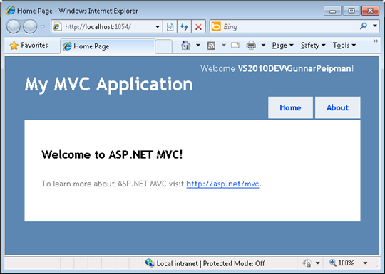 ASP.NET MVC 3 Tools Update: Intranet application in action