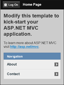 ASP.NET MVC 4: Home page of mobile web application