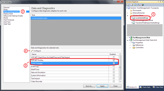 Visual Studio 2010 Test settings