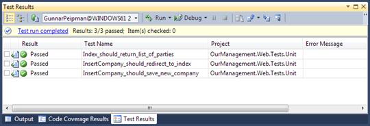 Visual Studio 2010 Test Results window