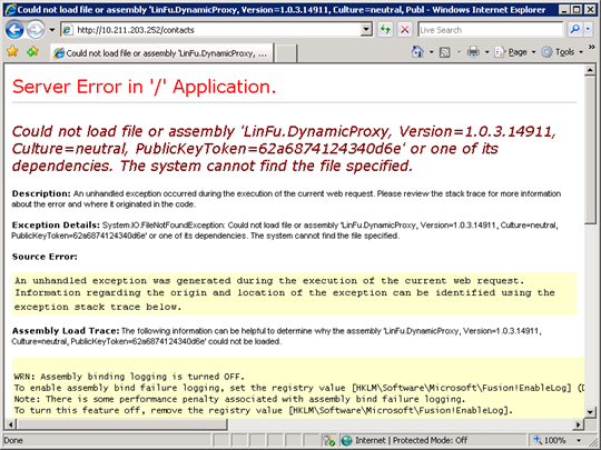 Error in web application