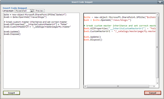 CodePlex: Insert Code Snipet dialog