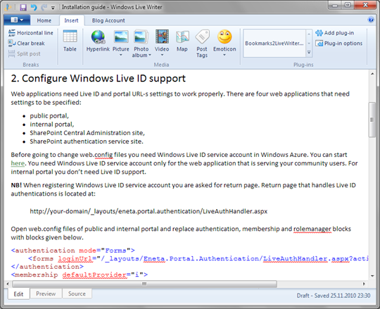 CodePlex wiki page in Windows Live Writer