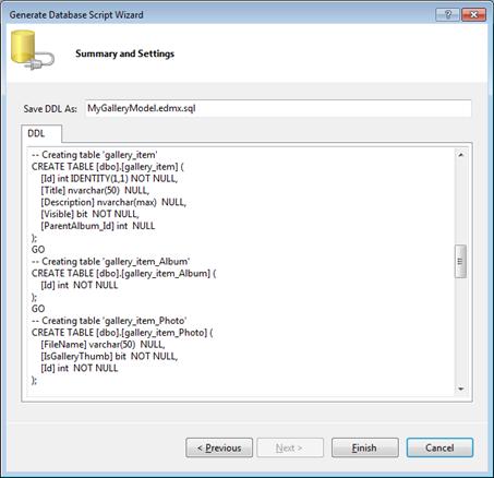 Entity Framework 4.0: SQL script