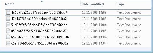 List of files that contain cache entries