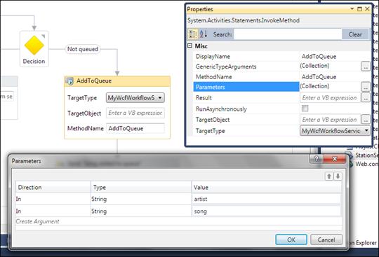 InvokeMethod activity with method parameters