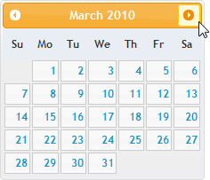 jQuery DatePicker has Next button highlighted