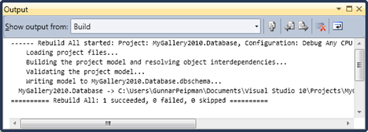 MyGallery2010: Build results of database project