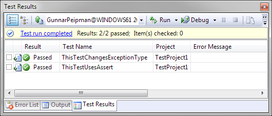 Visual Studio 2008: Hcked unit tests passed well