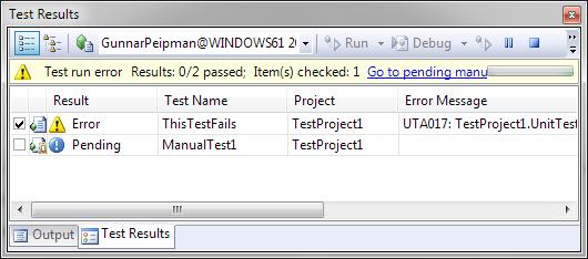 Visual Studio 2008: Test that fails
