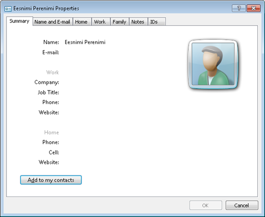 vCard opened on desktop