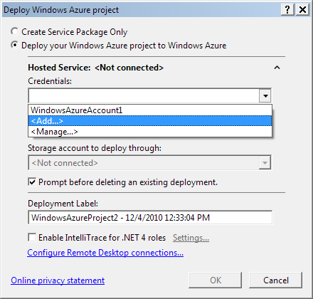 Visual Studio 2010: Windows Azure project deployment settings