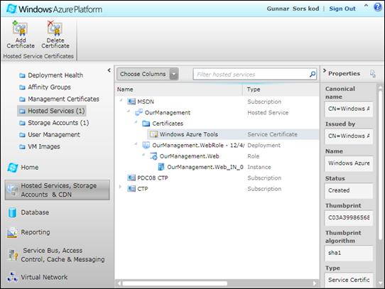 Windows Azure Portal: My Remote Desktop Certificate