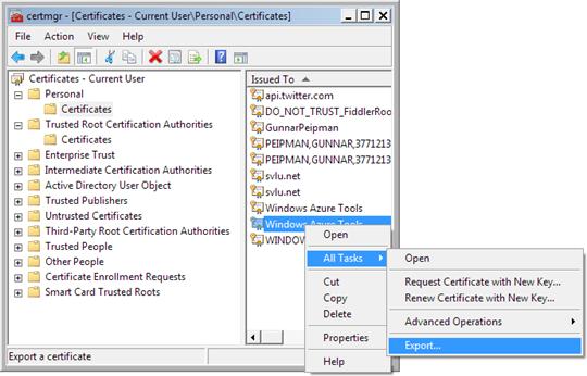 certmgr: Export my Remote Desktop certificate