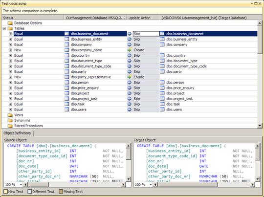 Visual Studio 2010: Differences between source and target schemas