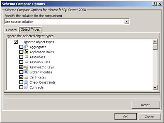 Visual Studio 2010: Schema compare options