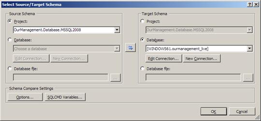 Visual Studio 2010: Select source/target schema