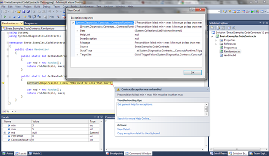 Visual Studio 2010 Code Contracts: Exception of type ContractException is thrown when contract is violated