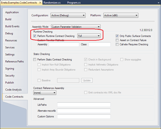 Visual Studio 2010 Code Contracts: Runtime Checking is turned on and checks are made only in public surface