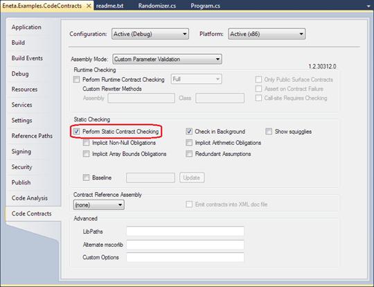 Visual Studio 2010: Code contracts settings