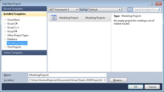 Visual Studio 2010: Creating modeling project