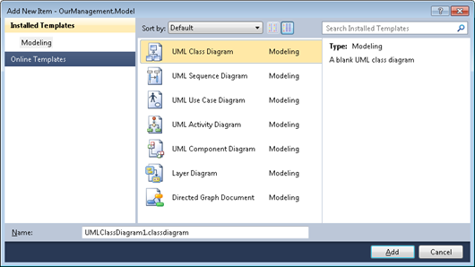 Visual Studio 2010: Add new diagram to modeling project