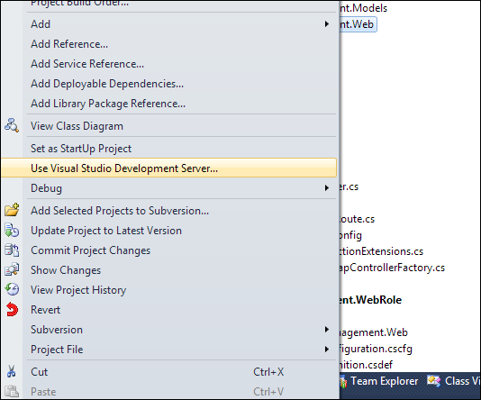 VS2010 & IIS Express: Use Visual Studio Development Server