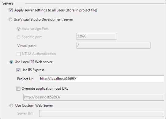 VS2010 & IIS Express: Web application settings