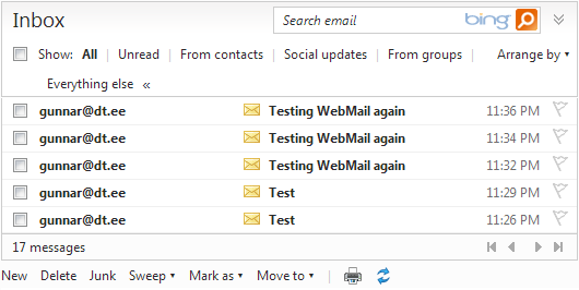 Test e-mails in my Live mailbox