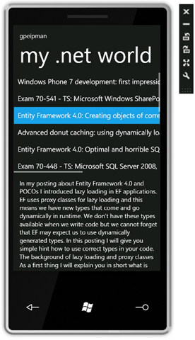 My Windows Phone 7 RSS-reader
