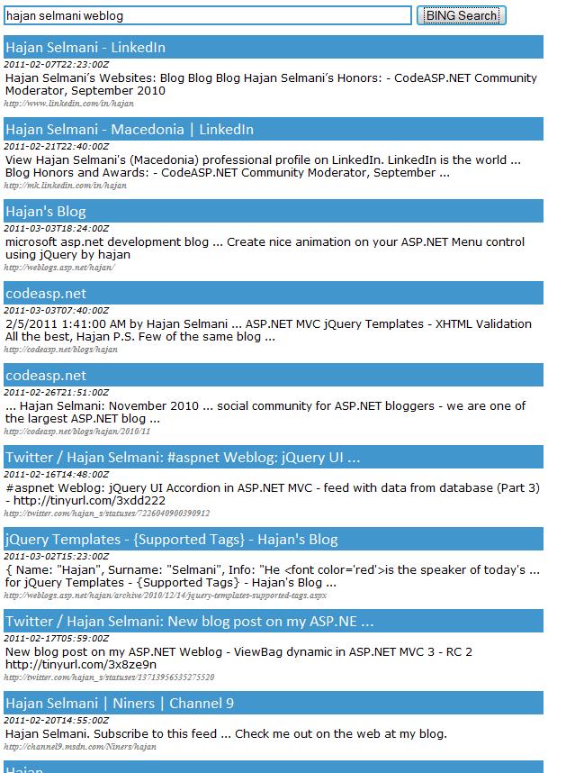 Hajan Selmani - BING Search using ASP NET and jQuery Ajax