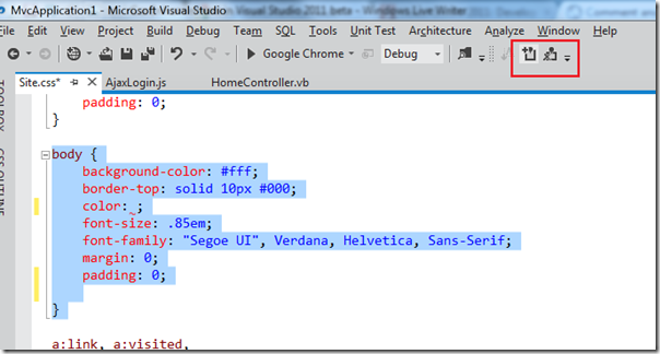 Commenting and uncommenting features in Visual Studio 2011 beta